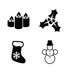 Merry christmas simple related icons vector