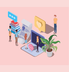 Online education with laptop and mini people vector