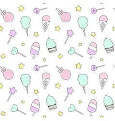 pattern with candies ice cream lollipop vector image