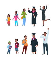 People different ages boy girl students vector