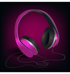 Pink headphones on purple background vector