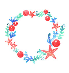 Red starfish seaweed coral and ball wreath vector