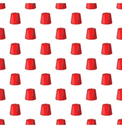 Red turkish hat fez pattern cartoon style vector image