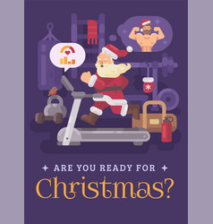 Santa claus exercising and getting into shape for vector