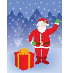Santa standing at present vector image