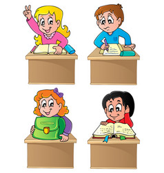 school pupils theme image 1 vector image
