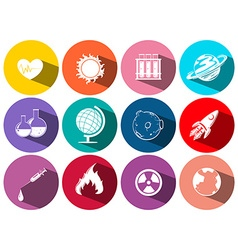 Science and technology symbols on round icons vector image