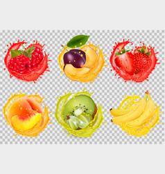 set fruit juice splash raspberry plum vector image