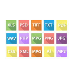 Set of document file formats with long shadows vector