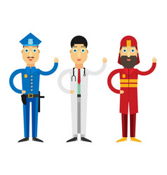 set of people icons in flat style police fireman vector image