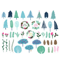 set trees wreaths and different plant vector image