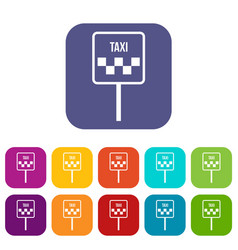 sign taxi icons set vector image