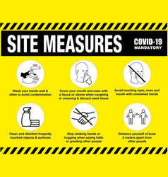 Site measures mandatory or safety sign vector