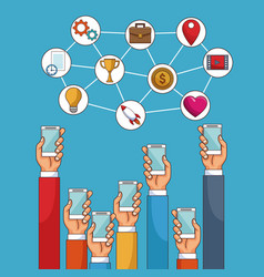 social network and media technology vector image