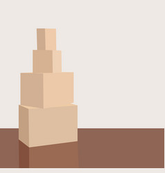 stack of cardboard boxes in an empty room pile of vector image