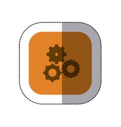 Sticker color square with pinions set icon vector