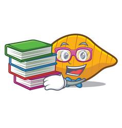 Student with book conchiglie pasta mascot cartoon vector