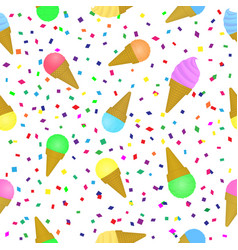 sweet ice-cream seamless pattern holiday festival vector image