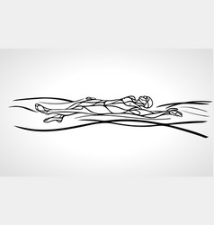 swimmer backstroke black outline silhouette vector image