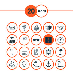 Tourism icons set collection of freight trolley vector