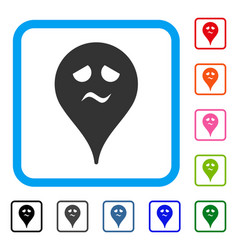 Trouble smiley map marker framed icon vector