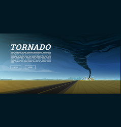 twisting tornado or storm from sea hurricane in vector image