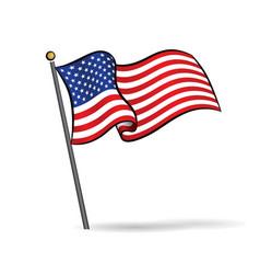 usa flag waving on wind vector image
