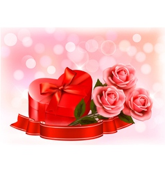 Valentines day background Three red roses with red vector image