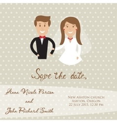 Wedding card with newly wed couple save date vector