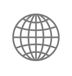 Wireframe globe icon - planet symbol vector