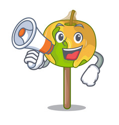 with megaphone candy apple character cartoon vector image