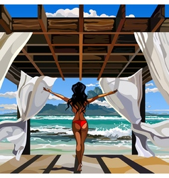 Woman standing in a gazebo on the beach vector