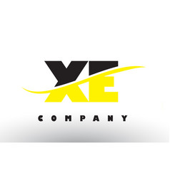 Xe x e black and yellow letter logo with swoosh vector