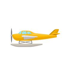 Yellow small plane light aircraft vector