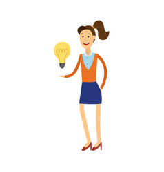 young woman having idea - smiling vector image