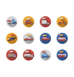 Car sale services round flat color icons vector image vector image