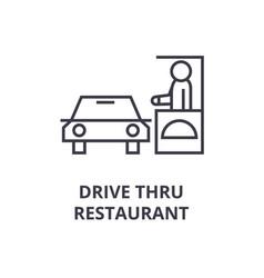 drive thru restaurant line icon outline sign vector image