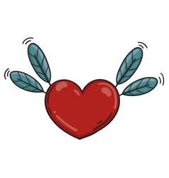 heart feather colored icon vector image vector image