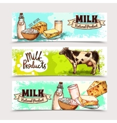 Milk Products Banner Set vector image vector image