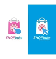 Package and click logo combination shop vector