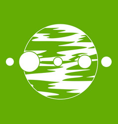 planet and moons icon green vector image vector image