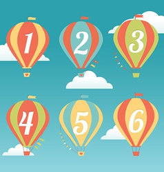 Six Colorful Hot Air Balloons vector image