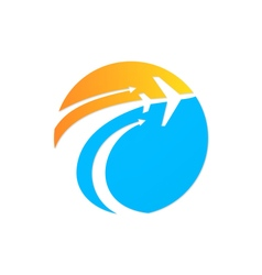 airplane travel globe fly logo vector image vector image