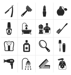 Black body care and cosmetics icons vector image vector image
