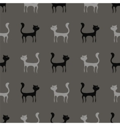 Black Grey Cats Seamless Pattern vector image vector image