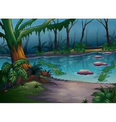 Crocodiles in a river vector image vector image