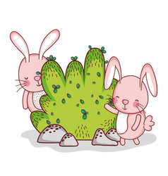 cute bunnies playing in forest vector image vector image