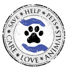 dog paw hand love sign icon pets symbol textured vector image vector image