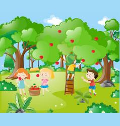 Farm scene with kids picking apples vector