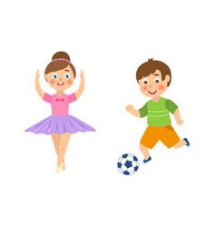 flat boy playing football girl ballerina vector image